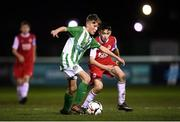 23 October 2019; Hugh Parker of Bray Wanderers and Rhys Bartley of St Patrick's Athletic during the SSE Airtricity U13 League Final between Bray Wanderers and St Patrick's Athletic at Carlisle Grounds in Bray, Co Wicklow. Photo by Stephen McCarthy/Sportsfile