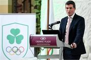 23 October 2019; The Olympic Federation of Ireland hosted a dinner for the CEOs and Presidents of their member federations on the 23 October at the Crowne Plaza in Blanchardstown. The evening included an overview of activities that are taking place within the organisation, and also a detailed update on the progression of preparation for the Tokyo Olympics. In attendance at the dinner is Olympic Federation of Ireland CEO Peter Sherrard Photo by Matt Browne/Sportsfile