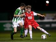 23 October 2019; Matthew O'Hara of St Patrick's Athletic and Freddie Turley of Bray Wanderers during the SSE Airtricity U13 League Final between Bray Wanderers and St Patrick's Athletic at Carlisle Grounds in Bray, Co Wicklow. Photo by Stephen McCarthy/Sportsfile