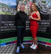 24 October 2019; From small beginnings to a big future. A celebration to the future of Sports Travel International. Chris Bird, CEO of Sports Travel International, left, with Track Cyclist and Irish Youth Olympian Lara Gillespie, from Co. Wicklow, at the Sports Travel International launch celebration at the Conrad Hotel in Dublin. Photo by Matt Browne/Sportsfile