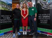 24 October 2019; From small beginnings to a big future. A celebration to the future of Sports Travel International. Track Cyclist and Irish Youth Olympian Lara Gillespie from Co Wicklow with Chris Bird,left, CEO of Sports Travel International and Martin Joyce Tour Director of Sports Travel International at the Sports Travel International launch celebration at the Conrad Hotel in Dublin. Photo by Matt Browne/Sportsfile