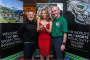 24 October 2019; From small beginnings to a big future. A celebration to the future of Sports Travel International. Track Cyclist and Irish Youth Olympian Lara Gillespie, from Co. Wicklow, with Chris Bird, CEO of Sports Travel International, left, and Martin Joyce, Tour Director of Sports Travel International, right, at the Sports Travel International launch celebration at the Conrad Hotel in Dublin. Photo by Matt Browne/Sportsfile