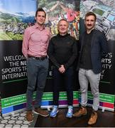 24 October 2019; From small beginnings to a big future. A celebration to the future of Sports Travel International. Chris Bird, CEO of Sports Travel International, centre, with Scott Graham from Cycling Ireland, left, and Kevin Keane from Triathlon Ireland during the Sports Travel International launch celebration at the Conrad Hotel in Dublin. Photo by Matt Browne/Sportsfile