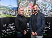 24 October 2019; From small beginnings to a big future. A celebration to the future of Sports Travel International. Chris Bird, CEO of Sports Travel International, left, with Kevin Keane from Triathlon Ireland during the Sports Travel International launch celebration at the Conrad Hotel in Dublin. Photo by Matt Browne/Sportsfile