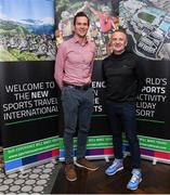 24 October 2019; From small beginnings to a big future. A celebration to the future of Sports Travel International. Chris Bird, CEO of Sports Travel International, left, with Scott Graham from Cycling Ireland during the Sports Travel International launch celebration at the Conrad Hotel in Dublin. Photo by Matt Browne/Sportsfile