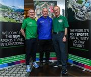 24 October 2019; From small beginnings to a big future. A celebration to the future of Sports Travel International. Eugene Coppinger, from Dublin City Marathon, with Chris Bird, CEO of Sports Travel International, left, and Martin Joyce, Tour Director of Sports Travel International, right, during the Sports Travel International launch celebration at the Conrad Hotel in Dublin. Photo by Matt Browne/Sportsfile