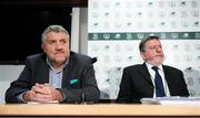 25 October 2019; FAI Vice President Paul Cooke, left, and FAI President Donal Conway during a FAI Council Meeting press conference at FAI Headquarters in Abbotstown, Dublin. Photo by Stephen McCarthy/Sportsfile