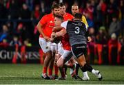25 October 2019; Rory Scannell of Munster is tackled by Tom Botha of Ospreys during the Guinness PRO14 Round 4 match between Munster and Ospreys at Irish Independent Park in Cork. Photo by Sam Barnes/Sportsfile