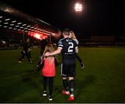 25 October 2019; Derek Pender of Bohemians with his daughters Alex, age 3, and Dannii, age 8, prior to the SSE Airtricity League Premier Division match between Bohemians and Sligo Rovers at Dalymount Park in Dublin. Photo by Harry Murphy/Sportsfile