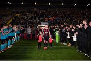25 October 2019; Derek Pender of Bohemians with his daughters Alex, age 3, right, and Dannii, age 8, receive a guard of honour prior to the SSE Airtricity League Premier Division match between Bohemians and Sligo Rovers at Dalymount Park in Dublin. Photo by Harry Murphy/Sportsfile