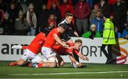 25 October 2019; Munster players, from right, Mike Haley, Jack O'Sullivan and Tyler Bleyendaal dive on a kicked through ball to prevent Tom Williams of Ospreys from scoring a try during the Guinness PRO14 Round 4 match between Munster and Ospreys at Irish Independent Park in Cork. Photo by David Fitzgerald/Sportsfile