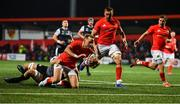 25 October 2019; Mike Haley of Munster goes over to score his side's third try despite the attempted tackle from Olly Cracknell of Ospreys during the Guinness PRO14 Round 4 match between Munster and Ospreys at Irish Independent Park in Cork. Photo by David Fitzgerald/Sportsfile