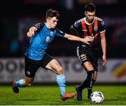 25 October 2019; Danny Mandroiu of Bohemians in action against Niall Morahan of Sligo Rovers during the SSE Airtricity League Premier Division match between Bohemians and Sligo Rovers at Dalymount Park in Dublin. Photo by Harry Murphy/Sportsfile
