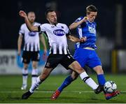 25 October 2019; Chris Forrester of St Patrick's Athletic in action against Robbie Benson of Dundalk during the SSE Airtricity League Premier Division match between Dundalk and St Patrick's Athletic at Oriel Park in Dundalk, Co Louth. Photo by Seb Daly/Sportsfile