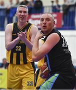 25 October 2019; Kieran Donaghy, right, of Garvey's Tralee Warriors and Colin O'Reilly of Keane's Supervalu Killorglin react to a referee's call during the Hula Hoops Pat Duffy Men's National Cup 1st Round match between Keane's Supervalu Killorglin and Garvey's Tralee Warriors at Killorglin Sports Centre in Killorglin, Kerry. Photo by Brendan Moran/Sportsfile