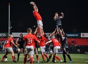 25 October 2019; Billy Holland of Munster claims the ball from a line out during the Guinness PRO14 Round 4 match between Munster and Ospreys at Irish Independent Park in Cork. Photo by Sam Barnes/Sportsfile