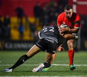 25 October 2019; JJ Hanrahan of Munster is tackled by James Hook of Ospreys during the Guinness PRO14 Round 4 match between Munster and Ospreys at Irish Independent Park in Cork. Photo by David Fitzgerald/Sportsfile