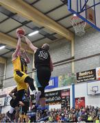 25 October 2019; Colin O'Reilly of Keane's Supervalu Killorglin goes for a lay up against Kieran Donaghy of Garvey's Tralee Warriors during the Hula Hoops Pat Duffy Men's National Cup 1st Round match between Keane's Supervalu Killorglin and Garvey's Tralee Warriors at Killorglin Sports Centre in Killorglin, Kerry. Photo by Brendan Moran/Sportsfile