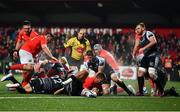 25 October 2019; Arno Botha of Munster goes over to score his side's fourth try during the Guinness PRO14 Round 4 match between Munster and Ospreys at Irish Independent Park in Cork. Photo by David Fitzgerald/Sportsfile