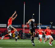 25 October 2019; Mike Haley of Munster charges down the kick from James Hook of Ospreys during the Guinness PRO14 Round 4 match between Munster and Ospreys at Irish Independent Park in Cork. Photo by David Fitzgerald/Sportsfile