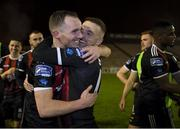 25 October 2019; Derek Pender and Keith Ward of Bohemians embrace following the SSE Airtricity League Premier Division match between Bohemians and Sligo Rovers at Dalymount Park in Dublin. Photo by Harry Murphy/Sportsfile