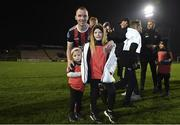 25 October 2019; Derek Pender of Bohemians with his daughters Alex, age 3, and Dannii, age 8, following the SSE Airtricity League Premier Division match between Bohemians and Sligo Rovers at Dalymount Park in Dublin. Photo by Harry Murphy/Sportsfile