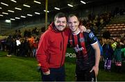 25 October 2019; Derek Pender of Bohemians with Actor Laurence Kinlan following the SSE Airtricity League Premier Division match between Bohemians and Sligo Rovers at Dalymount Park in Dublin. Photo by Harry Murphy/Sportsfile
