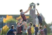 26 October 2019; Jake McCay of NUIG in action against Charlie Clarke of Queen's University Belfast during the 5th place play-off match between Queen's University Belfast and NUI Galway at Terenure College RFC in Lakelands Park, Dublin. Photo by Eóin Noonan/Sportsfile