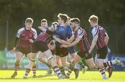26 October 2019; Rory McGinty of Queen's University Belfast in action against Rory O'Connor of NUIG during the 5th place play-off match between Queen's University Belfast and NUI Galway at Terenure College RFC in Lakelands Park, Dublin. Photo by Eóin Noonan/Sportsfile