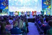 26 October 2019; Galway Camogie player Caitriona Cormica with, from left, Clare hurler and footballer Podge Collins, Limerick handball player Martina McMahon, Dublin footballer Ciara Trant and Sky Sports GAA presenter Damian Lawlor at the #GAAyouth Forum 2019 at Croke Park in Dublin. Photo by Matt Browne/Sportsfile