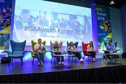 26 October 2019; Clare hurler and footballer Podge Collins with Limerick handball player Martina McMahon, Galway Camogie player Caitriona Cormica, Dublin footballer Ciara Trant and Sky Sports GAA presenter Damian Lawlor at the #GAAyouth Forum 2019 at Croke Park in Dublin. Photo by Matt Browne/Sportsfile