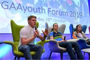 26 October 2019; Clare hurler and footballer Podge Collins with Limerick handball player Martina McMahon, and Galway Camogie player Caitriona Cormica at the #GAAyouth Forum 2019 at Croke Park in Dublin. Photo by Matt Browne/Sportsfile