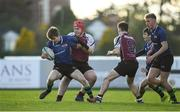 26 October 2019; Rory McGinty of Queen's University Belfast in action against Johnathan Browne of NUIG during the 5th place play-off match between Queen's University Belfast and NUI Galway at Terenure College RFC in Lakelands Park, Dublin. Photo by Eóin Noonan/Sportsfile