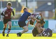 26 October 2019; Sean O'Grady of NUIG in action against Matthew Borne of Queen's University Belfast during the 5th place play-off match between Queen's University Belfast and NUI Galway at Terenure College RFC in Lakelands Park, Dublin. Photo by Eóin Noonan/Sportsfile