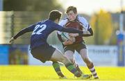 26 October 2019; David Burke of NUIG in action against Ben Donovan of Queen's University Belfast during the 5th place play-off match between Queen's University Belfast and NUI Galway at Terenure College RFC in Lakelands Park, Dublin. Photo by Eóin Noonan/Sportsfile