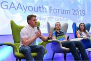 26 October 2019; Clare hurler and footballer Podge Collins, left, with Limerick handball player Martina McMahon, centre, and Galway Camogie player Caitriona Cormica at the #GAAyouth Forum 2019 at Croke Park in Dublin. Photo by Matt Browne/Sportsfile