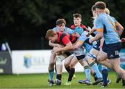 26 October 2019; Fionn Finnerty of Trinity College Dublin in action against JJ Landers of UCD during the Maxol Conroy Cup final match between University College Dublin and Trinity College Dublin at Terenure College RFC in Lakelands Park, Dublin. Photo by Eóin Noonan/Sportsfile