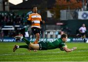 26 October 2019; Kieran Marmion of Connacht dives over to score his side's second try during the Guinness PRO14 Round 4 match between Connacht and Toyota Cheetahs at The Sportsground in Galway. Photo by Seb Daly/Sportsfile