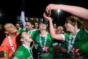 26 October 2019; Peamount United's Chloe Moloney pours team-mate Niamh Farrelly a drink in celebration of winning the Só Hotels Women's National League following their victory over Cork City at PRL Park in Greenogue, Co Dublin. Photo by Stephen McCarthy/Sportsfile