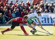 26 October 2019; John McKee of Ireland and Gordon Johnston of Canada battle for the ball during the first half of a FIH Men's Olympic Qualifier match between Canada and Ireland at Rutledge Field, in West Vancouver, British Columbia, Canada. Photo by Darryl Dyck/Sportsfile