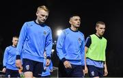 18 October 2019; UCD players, from left, Liam Scales, Yoyo Mahdy and Jack Keaney ahead of the SSE Airtricity League Premier Division match between UCD and Shamrock Rovers at The UCD Bowl in Belfield, Dublin. Photo by Ben McShane/Sportsfile
