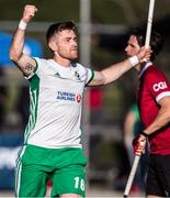 26 October 2019; Shane O'Donoghue of Ireland celebrates after scoring his side's fifth goal against Canada during the FIH Men's Olympic Qualifier match between Canada and Ireland at Rutledge Field, in West Vancouver, British Columbia, Canada. Photo by Darryl Dyck/Sportsfile