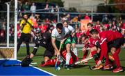 26 October 2019; John McKee of Ireland controls the ball in front of Canada goalkeeper Antoni Kindler, left, and the Canada defence during the FIH Men's Olympic Qualifier match between Canada and Ireland at Rutledge Field, in West Vancouver, British Columbia, Canada. Photo by Darryl Dyck/Sportsfile