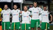 """26 October 2019; Ireland players, from left, Eugene Magee, Jeremy Duncan, Stuart Loughrey, Conor Harte and Jonathan Bell sing """"Ireland's Call"""" before a FIH Men's Olympic Qualifier match against Canada at Rutledge Field, in West Vancouver, British Columbia, Canada. Photo by Darryl Dyck/Sportsfile"""