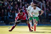 26 October 2019; Sukhi Panesar of Canada in action against Chris Cargo of Ireland during the FIH Men's Olympic Qualifier match between Canada and Ireland at Rutledge Field, in West Vancouver, British Columbia, Canada. Photo by Darryl Dyck/Sportsfile