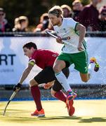 26 October 2019; Tim Cross of Ireland in action against Scott Tupper of Canada during the FIH Men's Olympic Qualifier match at Rutledge Field, in West Vancouver, British Columbia, Canada. Photo by Darryl Dyck/Sportsfile
