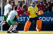26 October 2019; Ireland goalkeeper David Fitzgerald watches a shot from Floris van Son of Canada as it goes wide of the goal during the first half of a FIH Men's Olympic Qualifier match at Rutledge Field, in West Vancouver, British Columbia, Canada. Photo by Darryl Dyck/Sportsfile