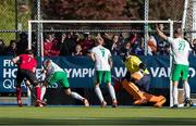 26 October 2019; Floris van Son of Canada, left, has a shot blocked by Chris Cargo of Ireland, second left, during the FIH Men's Olympic Qualifier match at Rutledge Field, in West Vancouver, British Columbia, Canada. Photo by Darryl Dyck/Sportsfile