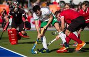 26 October 2019; John McKee of Ireland cin action against Gordon Johnston of Cananda during the FIH Men's Olympic Qualifier match at Rutledge Field, in West Vancouver, British Columbia, Canada. Photo by Darryl Dyck/Sportsfile