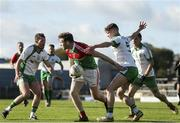 27 October 2019; Michael Monaghan of Garrycastle in action against Denis McGoldrick and Niall Farrelly of Killoe Emmet Og during the AIB GAA Football Leinster Senior Club Championship Round 1 match between Garrycastle and Killoe Emmet Og at TEG Cusack Park in Mullingar, Westmeath. Photo by Michael P Ryan/Sportsfile